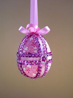 Pink Sequined Easter Egg Ornament by Ornament Designs