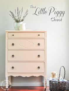 Antique Chest of Drawers painted in Fusion Mineral Paint Little Piggy, from the Tones for Tots Collection