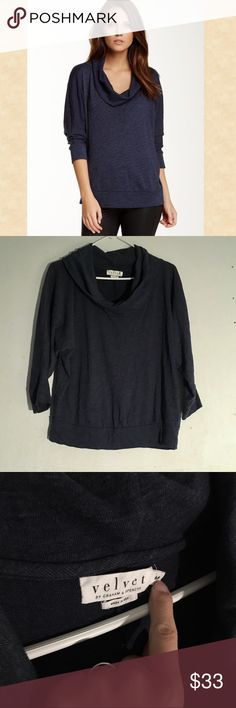 Velvet By Graham & Spencer Cowl Neck Top Size: medium, loose fit // navy blue cowl neck knit top • has slight batwing sleeve as shown • cozy and comfy • not heavy like a sweater • seam goes down the back • great condition Velvet Tops