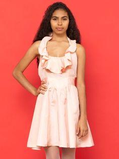 Vintage Ruffled Neckline Halter Mini Dress #AmericanApparel #PinatripwithAA