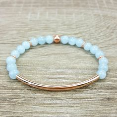 Aquamarine & Rose Gold bar bracelet