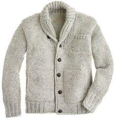 Canadian Sweater Company™ Cowichan cardigan - fine wool - Men's sweaters - J.Crew Looks warm Shawl Collar Cardigan, Knit Cardigan, Cardigan Sweaters, Wool Sweaters, Mrs Hudson, Pulls, Casual Wear, Knitwear, What To Wear