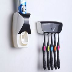 >> Click to Buy << Automatic Toothpaste Dispenser Toothbrush Holder Set Wall Mount Stand Bathroom #Affiliate