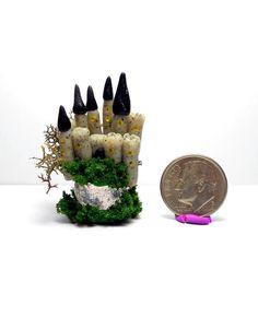 OOAK Miniature Fairy Fantasy Grey Castle on Gazing Ball by N. Fox
