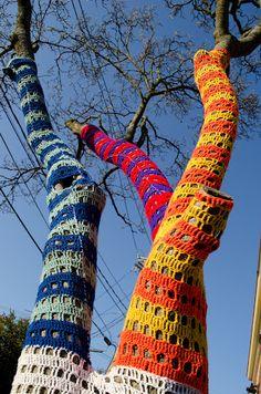 Yarn bombing outside community art center on Foster St. in Peabody