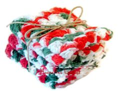 Christmas Colors Eco Friendly Dish Cloth Wash by MoomettesCrochet, $10.00