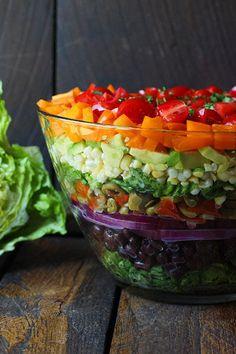 Seven Layer Salad with Creamy Salsa Vinaigrette
