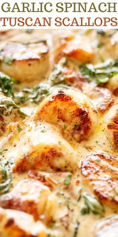 Garlic Spinach Tuscan Scallops