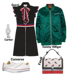 """#fashion #minifashionicon"" by minifashionicon on Polyvore featuring Gucci, Tommy Hilfiger, Converse, Cartier and Fendi"