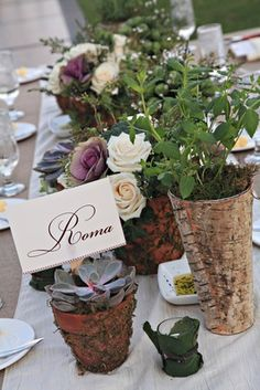 Unique Rustic Centerpieces    Photography: Regina Hyman Photography   Read More:  http://www.insideweddings.com/weddings/a-fairy-tale-outdoor-wedding-in-florida-inspired-by-tuscany/627/