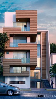 Project in Mexico City, designed by Ing. Residential Building Design, Architecture Building Design, Building Exterior, Building Facade, Modern Architecture House, Facade Design, Residential Architecture, Building Elevation, Building Front