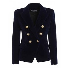 Balmain Navy Blue Velvet Double Breasted Jacket (23.086.000 IDR) ❤ liked on Polyvore featuring outerwear, jackets, balmain jacket, balmain blazer, navy blue blazer, velvet blazer and double breasted jacket