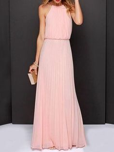 pink dress,pleated dress,chiffon dress,maxi dress