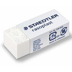 Γόμα λευκή για χρήση σε χαρτί απο τη STAEDTLER. Σβήνει με χαρακτηριστική ευκολία και είναι κατασκευασμένη χωρίς λάτεξ.