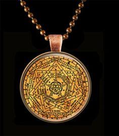 "The Sigil of Ameth Glass Art Pendant With Chain ""Sigillum Dei ..."