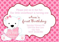 Pretty Polar Bear Invite DIGITAL File Birthday by LeilaniInspired, $12.00