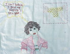 I LOVE that someone took the time to stitch a scene from Sixteen Candles