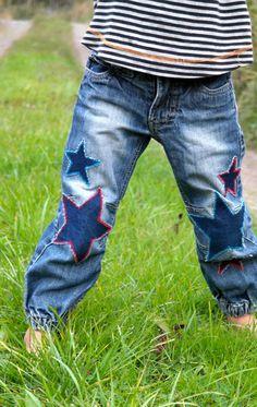 a56f9597c1a9 Knee patches Denim Stars by VillaPernilla on Etsy Kaputte Hosen, Kinder  Jeans, Jeans Flicken