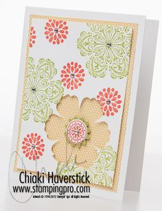 """Mixed Bunch stamp set; Lucky Limeade and Tangerine Tango inks; Blossom, Boho Blossom and 3/4"""" circle punches; Rhinestone Basics Jewels"""