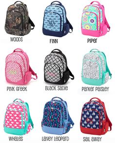 Monogrammed Backpack Kids Backpack Personalized by TheGiftingSpot