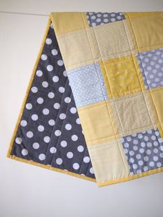 BABY QUILT Modern Bold Grey and Yellow Baby Quilt