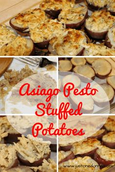 Garlicky, cheesy, Asiago Pesto Stuffed Potatoes are a delicious alternative to traditional twice-baked potatoes.
