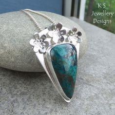 Chrysocolla Flower Adorned Sterling Silver Pendant - Gemstone Blossom Necklace…