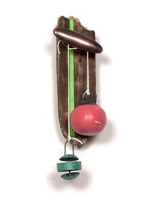 Aric Verrastro Brooch: You Choose, 2014 Driftwood, copper, steel, sterling silver, PLA, polyester cord, acrylic paint 20 x 9 x 8 cm