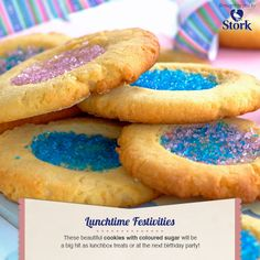 Need a recipe for scrumptious biscuits? Try this quick cookies with coloured sugar recipe today and rate Stork's recipes here. Stork – love to bake. Stork Recipes, Good Food, Yummy Food, Delicious Recipes, Quick Cookies, Colored Sugar, South African Recipes, No Sugar Foods, Macaroons