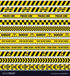 Black and yellow police stripe border, construction, danger caution seamless tapes vector set stripe Terrain 40k, Free Vector Images, Vector Free, Modele Lego, Hot Wheels, Road Trip Map, Hand Drawn Arrows, Warehouse Design, Cute Dragons