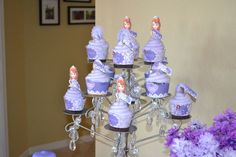 Purple cupcakes at a Sofia the First girl birthday party!  See more party ideas at CatchMyParty.com!