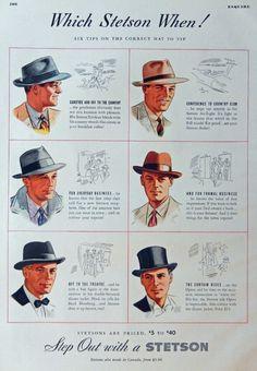 Stetson Hats Vintage Print Ad 30 s Color Illustration which Stetson when Esquire Magazine Art Vintage Advertisements, Vintage Ads, Vintage Prints, Vintage Style, Vintage Dress, Vintage Denim, Ad Fashion, Vintage Fashion, Classic Fashion