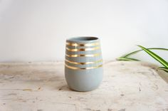 Gray + Gold Stripes Cylinder Vase on @Brika Lyga Lyga Lyga