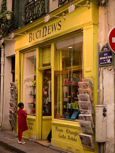 Paris in Yellow - Buci News, 4 Rue Grégoire de Tours, Paris VI - just around the corner of Hotel la Petite le Trianon in Latin Quarter - visited it every day :) Lokal, Belle Villa, Shop Around, Shop Fronts, Paris Travel, Travel City, Paris France, Paris Rue, Montmartre Paris