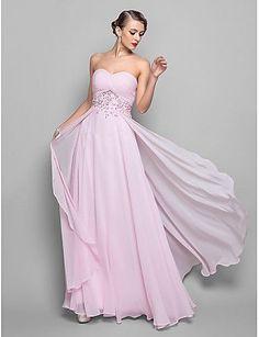 A-linje Kjære Gulvlang Georgette Kjole til brudens mor - Perlearbeid Appliqué Kryssdrapering av TS Couture®
