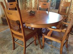 Vintage Oak Country Dining Room Table W/6 Chairs - nice color and design.  I can picture this in my dream breakfast nook