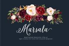 Watercolor flower Clip Art-Marsala | The Hungry JPEG