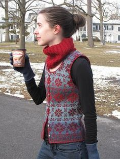 Trellis Waistcoat by Elizabeth McCarten ~ FREE pattern download via Ravelry.  Knit in a Sport 5ply and sized 30, 36, 42, and 48 inches Trellis is a fair isle design suitable for a first venture into knitting a steeked garment. The repeats are easy to memorize, the yarn does most of the colourwork, and since there are no sleeves there is no need to deal with stranded knitting on double-pointed needles.