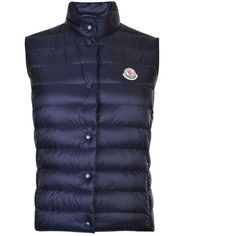 Moncler Liane Gilet (3 705 SEK) ❤ liked on Polyvore featuring outerwear, vests, navy, moncler gilet, moncler vest, padded vest, feather vest and moncler