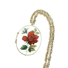 Guilloche Rose Locket Necklace