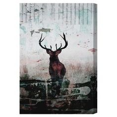 Equally at home in an artful collage or on its own as an eye-catching focal point, this hand-stretched canvas print showcases a majestic stag for natural style. Made in the USA.    Product: Canvas printConstruction Material: Canvas and woodFeatures:  Hand-stretched Gallery-wrappedArrives ready to hang with all hardware included Made in the USA Includes a certificate of authenticity by the artist   Cleaning and Care: Dust lightly using a soft, clean, lint-free cotton cloth