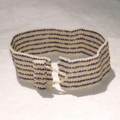 Pinstripes ... Peyote Bracelet . Cuff . Stripes . by time2cre8
