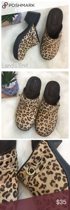 """Land's End Carly Leopard Clogs Size 9 Land's End Carly Leopard Print Clogs. Size 9. Preowned with no signs of wear on soles. Calf hair leopard print slide with side buckle detail.  Measurements  Heel 2 3/25""""  0207 Bundle in my closet and save. I ship same day or next day almost always! No trades. Lands' End Shoes Mules & Clogs"""