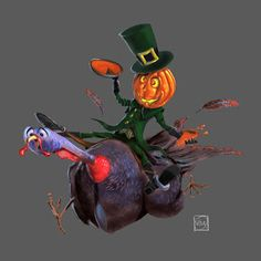 Halloween on the back of Thanksgiving Halloween (la Toussaint) chevauche Thanksgiving (l'Action de Grace) Drawing, Illustration, Turkey, Thanksgiving, Painting, Halloween, Movie Posters, Blog, Art