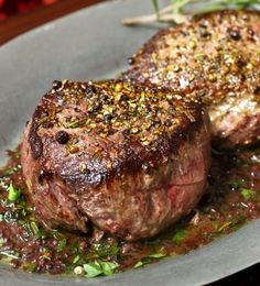 Pan Seared Filet of Sirloin with Red Wine Sauce From theslowroasteditalian.com #recipe