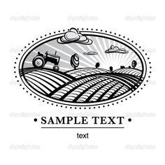 Agriculture landscape engraving — Stock Vector © archetype #