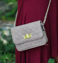 Quilted Mocha Crossbody Purse - The Pink Lily