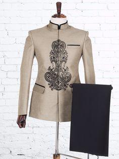 Raw Silk Beige Jodhpuri Suit