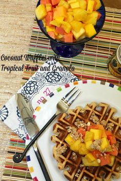 The best breakfast! Healthy, Low Calorie, Low Fat, Breakfast Coconut Waffles with Tropical Fruit and Granola www.fooddonelight.com
