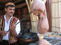 Ordering dondurma - Turkish sticky ice cream - while in Istanbul in 2007. Still haven't finished it.